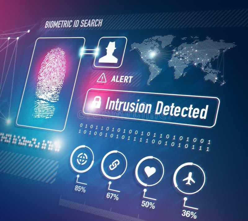 Biometrics Security Technology. Biometrics and Fingerprint Scan Security Technology Concept vector illustration