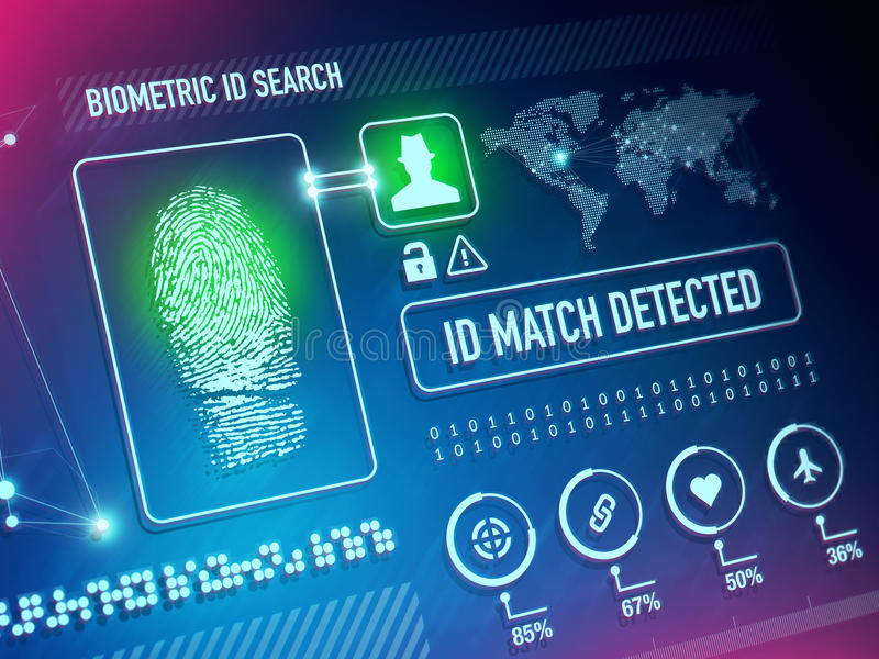 Biometrics Security Technology. Biometrics Scan Security Technology and ID Verification Concept vector illustration