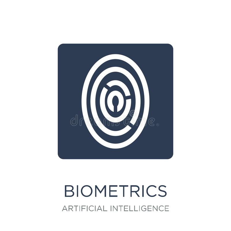 Biometricssymbol Moderiktig plan vektorBiometricssymbol på vit bac royaltyfri illustrationer