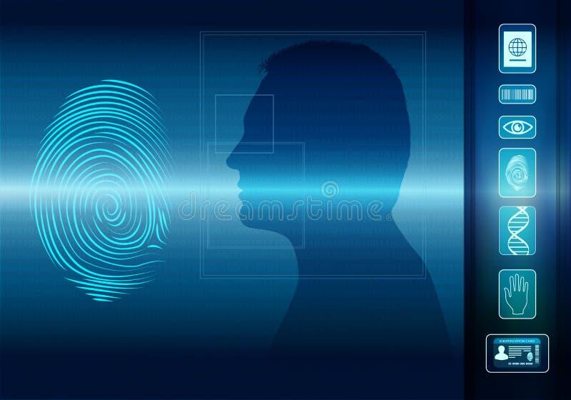 Biometrisch elektronisch systeem voor de identificatie van individuele identiteit Vingerafdrukaftasten Gezicht van de mens in pro vector illustratie