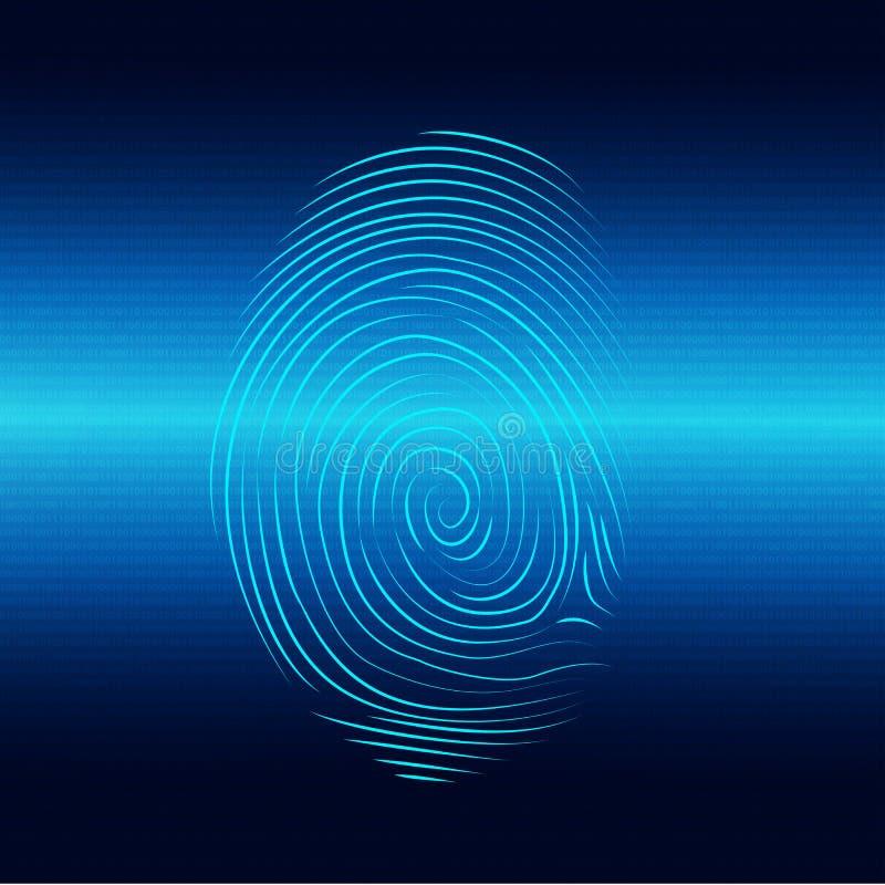 Biometrisch elektronisch systeem voor identificatie van individuele identiteit Vingerafdrukaftasten met binaire code vector illustratie