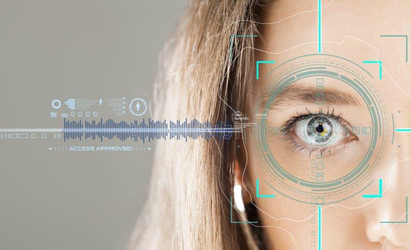 Biometrisch veiligheidsaftasten stock foto
