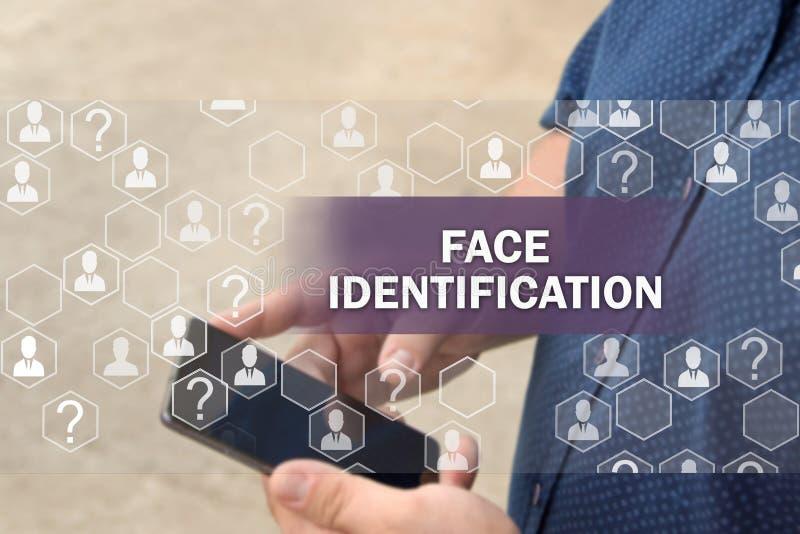 Biometrische controle, de technologie van de gezichtserkenning Gezichtsidentificatie Het concept de technologie van de gezichtser royalty-vrije stock foto's