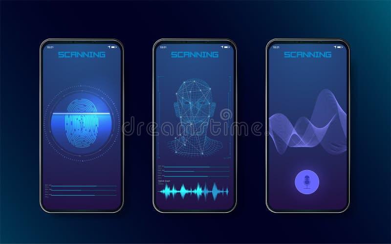 Biometrische Fingerabdruckscanner, -Gesichtserkennung und -Spracherkennung für Ermächtigungsüberprüfung mit futuristischem vektor abbildung