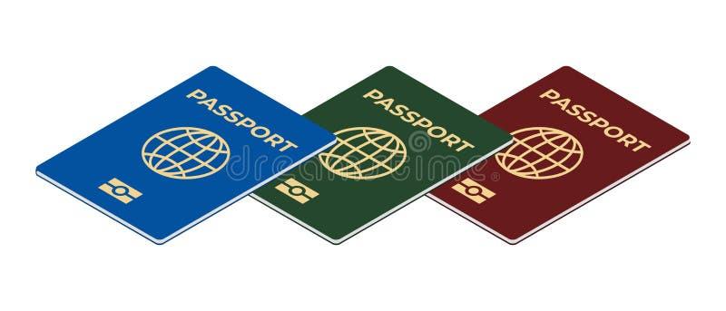 Biometrische geïsoleerde paspoortreeks stock illustratie