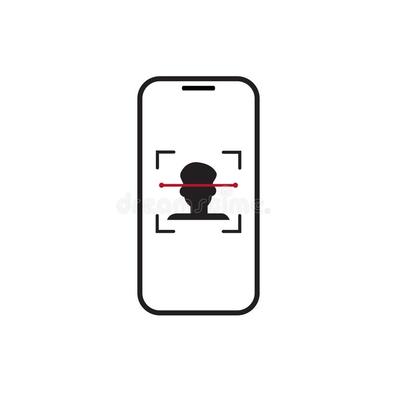 Biometrische het Aftastenpersoon van de Identificatie Slimme Telefoon, het Systeemconcept van de Gezichtserkenning royalty-vrije illustratie