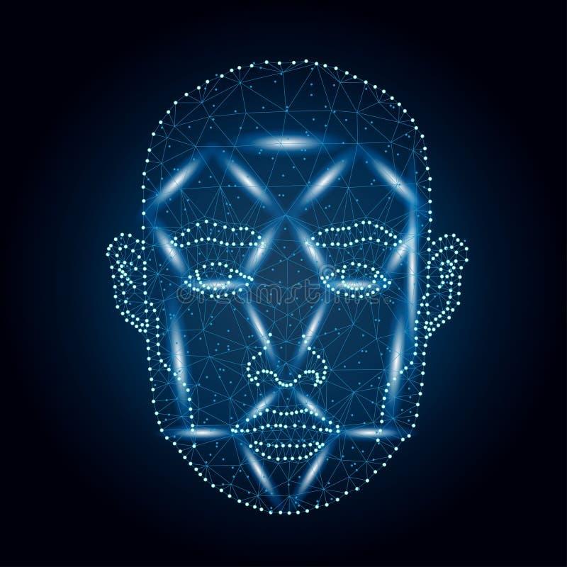 Biometrische identificatie, blauw 4 van het mensengezicht stock illustratie