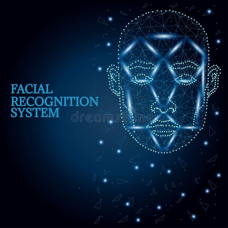 Biometrische identificatie, blauw 2 van het mensengezicht stock illustratie