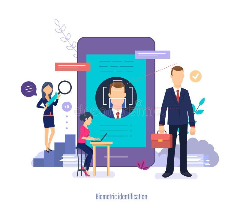 Biometrische Identificatie De scanner van gezichtsmensen De functie van de gezichtserkenning, gebruikersautorisatie vector illustratie