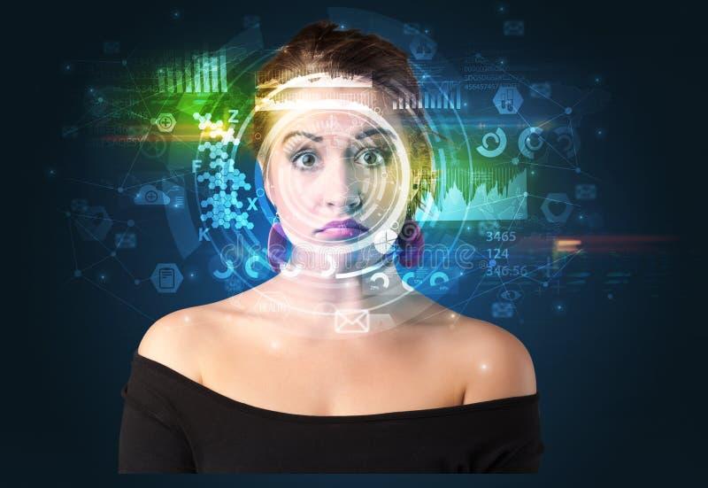 Biometrische identificatie en Gezichtserkenning royalty-vrije stock fotografie