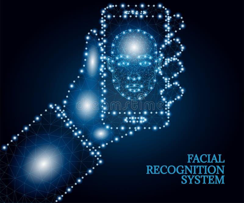 Biometrische identificatie, gezicht, hand, smartphone, veelhoek, blauw 3 royalty-vrije illustratie