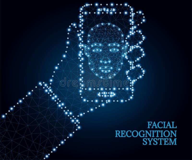 Biometrische identificatie, gezicht, hand, smartphone, veelhoek, blauw 1 royalty-vrije illustratie
