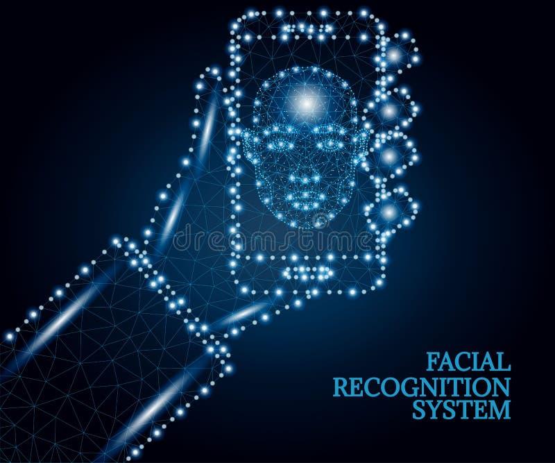 Biometrische identificatie, gezicht, hand, smartphone, veelhoek, blauw 2 royalty-vrije illustratie