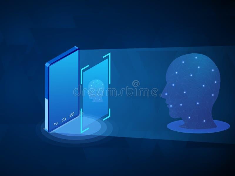Biometrische identificatie of Gezichtserkenning royalty-vrije illustratie