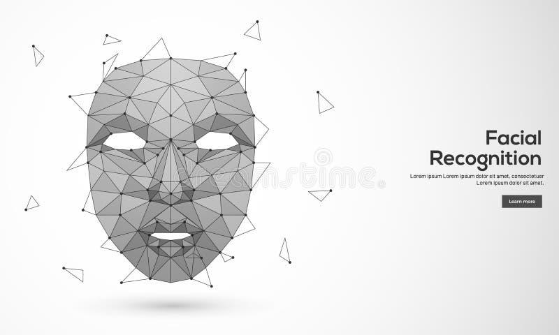 Biometrische identificatie of Gezichtserkenning stock illustratie