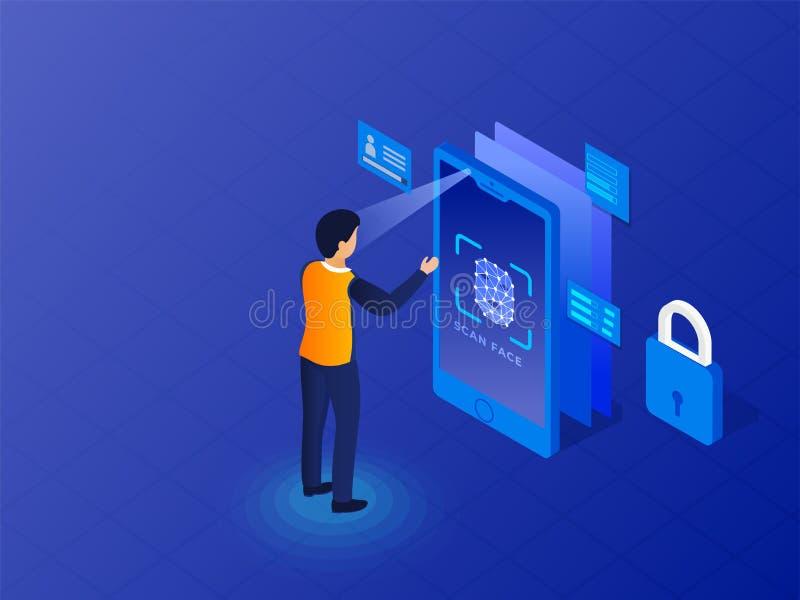 Biometrische identificatie of Gezichtserkenning vector illustratie