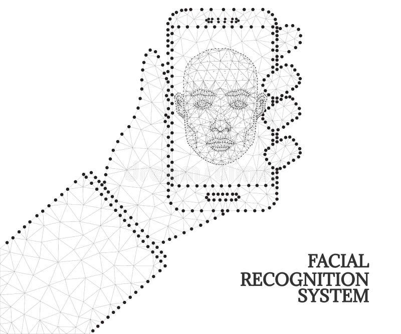 Biometrische identificatie, hand, smartphone, zwart-wit vector illustratie