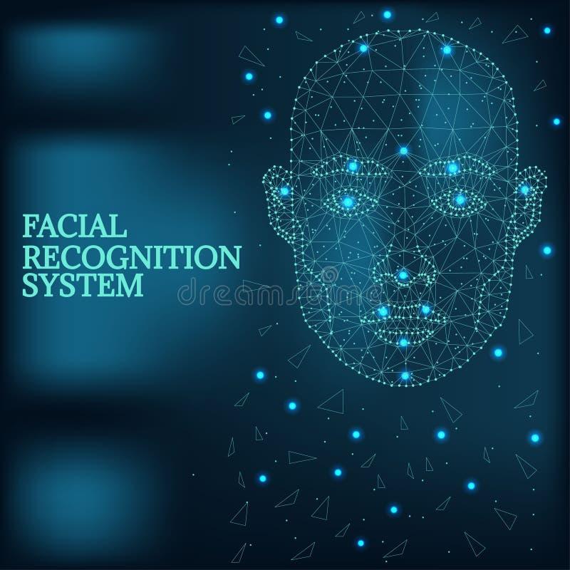 Biometrische identificatie, het blauw van het mensengezicht stock illustratie
