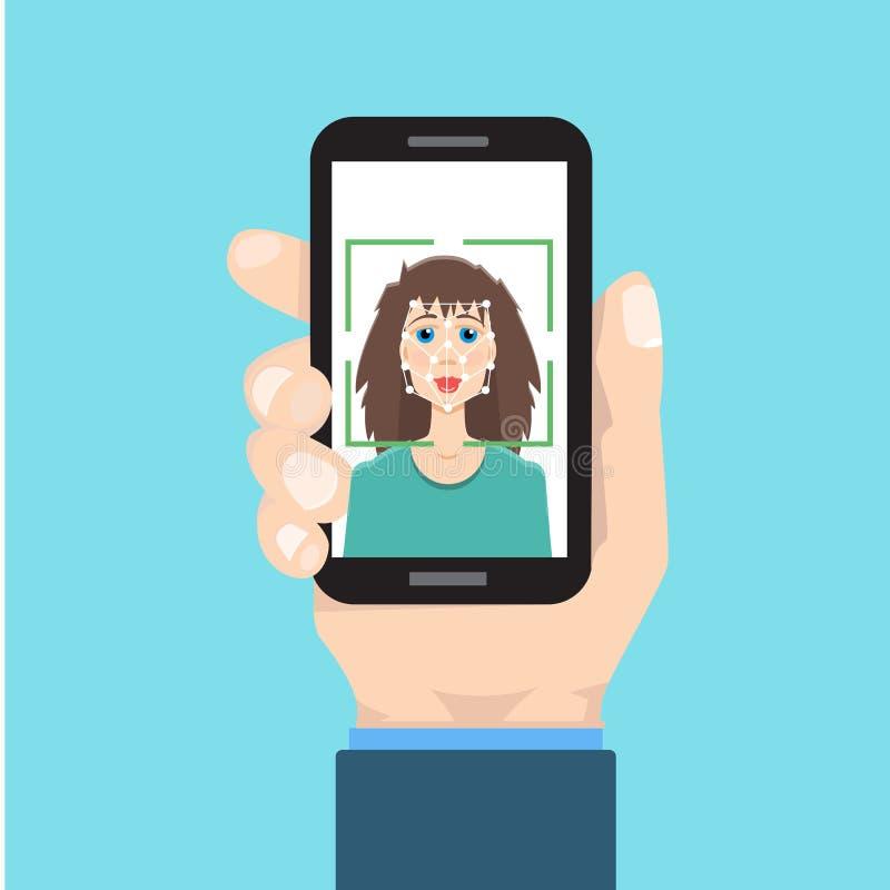 Biometrische identificatie, het systeemconcept van de gezichtserkenning stock illustratie
