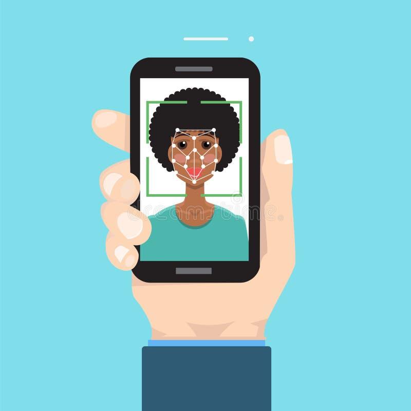 Biometrische identificatie, het systeemconcept van de gezichtserkenning Smartphone ter beschikking royalty-vrije illustratie