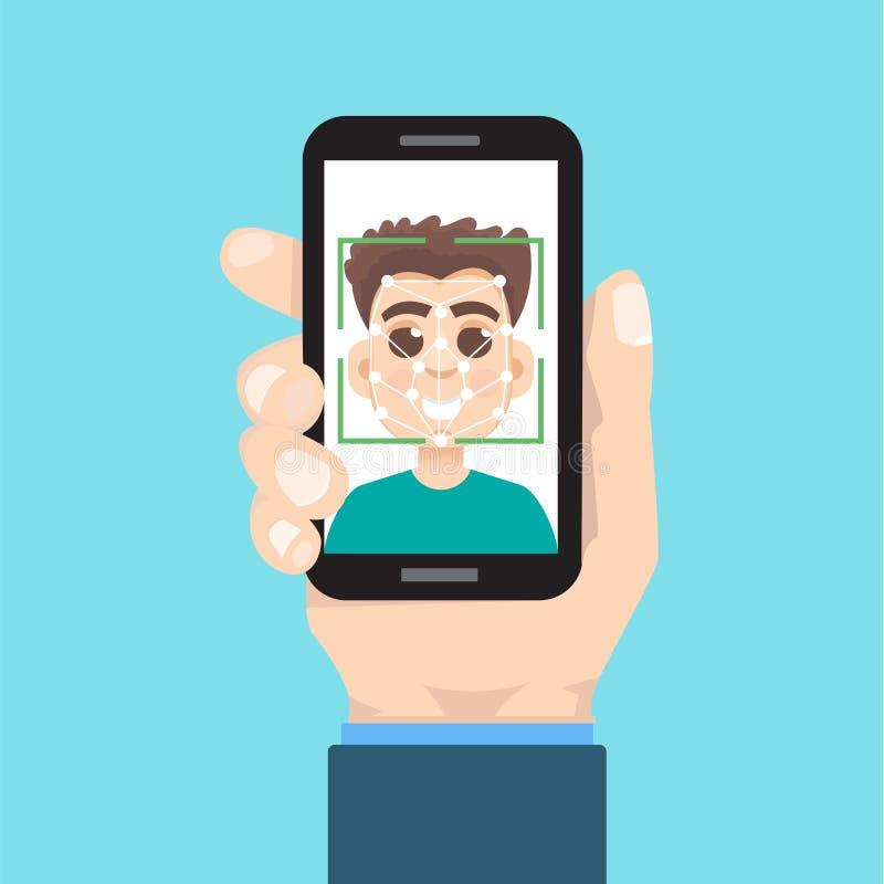 Biometrische identificatie, het systeemconcept van de gezichtserkenning Smartphone ter beschikking vector illustratie
