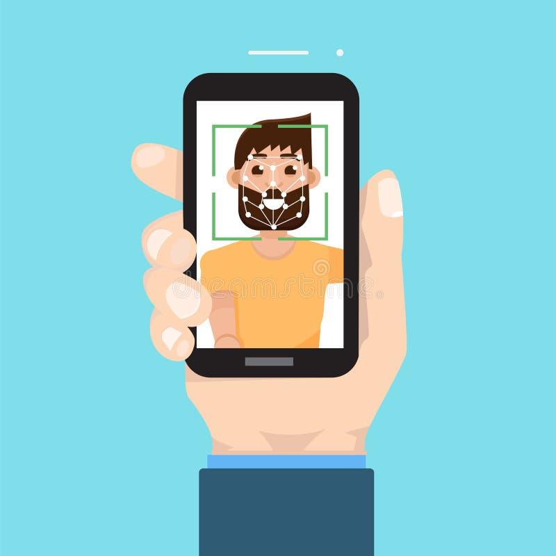 Biometrische identificatie, het systeemconcept van de gezichtserkenning Smartphone ter beschikking stock illustratie