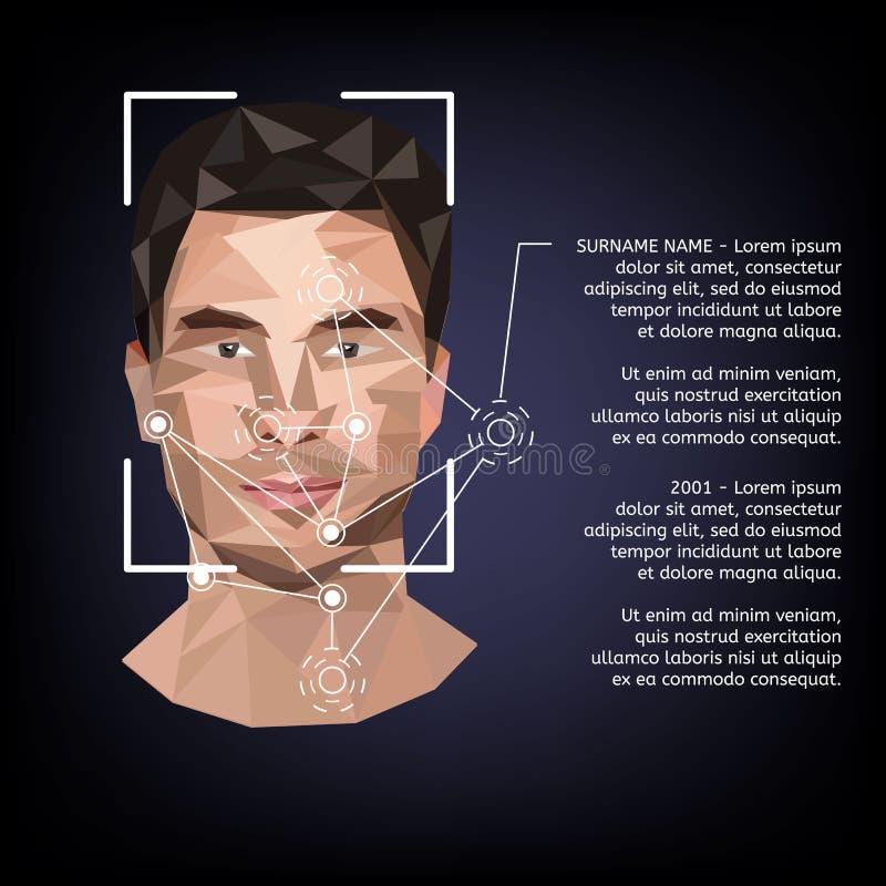 Biometrische identificatie op gezicht, in de stijl van lage poly stock illustratie