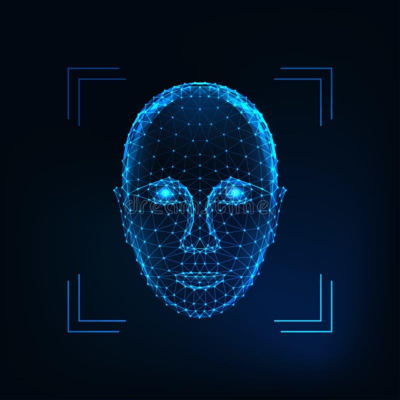 Biometrische persoonsidentificatie, gezichtserkenningsconcept Futuristisch laag veelhoekig menselijk gezicht vector illustratie