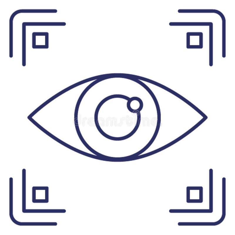 Biometrische toegang, het biometrische Vectorpictogram van de oogidentificatie dat zich gemakkelijk kan wijzigen of uitgeven vector illustratie