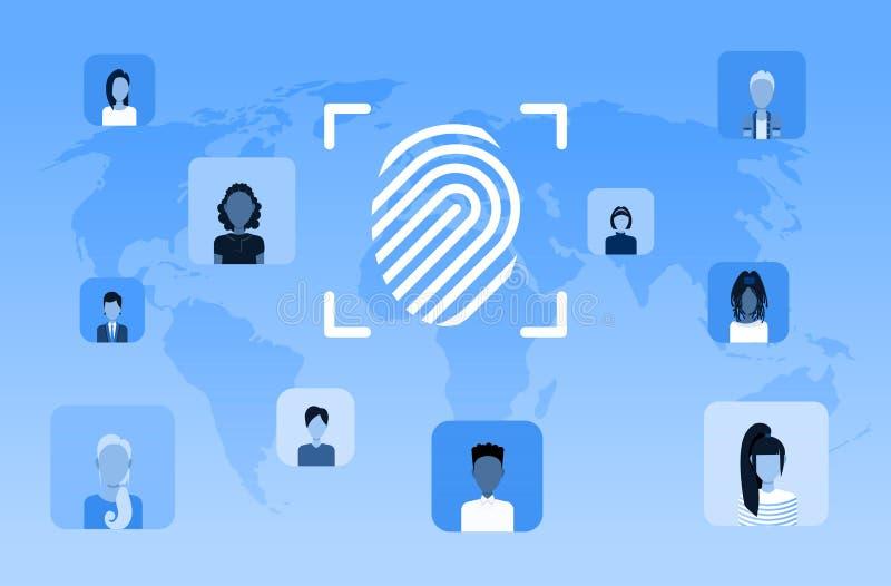 Biometrische van de de gegevensbeschermingtoegang van de vingerafdrukveiligheid van de de computertechnologiegebruiker toekomstig vector illustratie