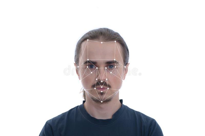 Biometrische veiligheidscontrole - de erkenningsconcept van gezichtsidentiteitskaart Technologie van gezicht het volgen op veelho royalty-vrije stock afbeelding