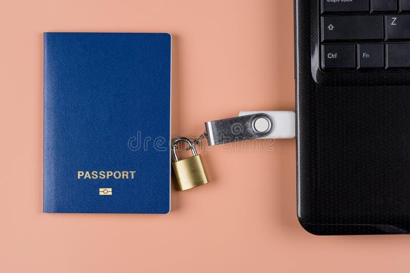 Biometrischer Paß Elektronische Steuerung über Menschlichkeit lizenzfreies stockfoto