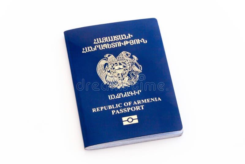 Biometrischer Pass Republik Armenien lokalisierte lizenzfreie stockfotos