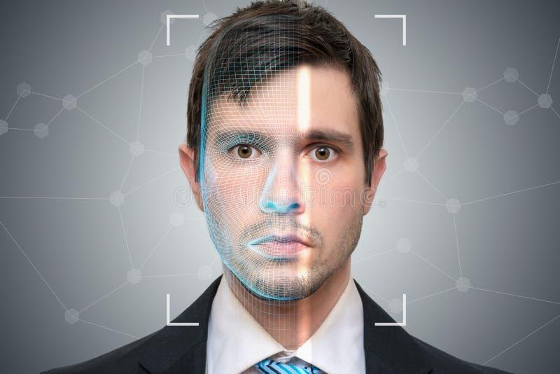 Biometrischer Scanner scannt Gesicht des jungen Mannes Entdeckungs- und Anerkennungskonzept vektor abbildung