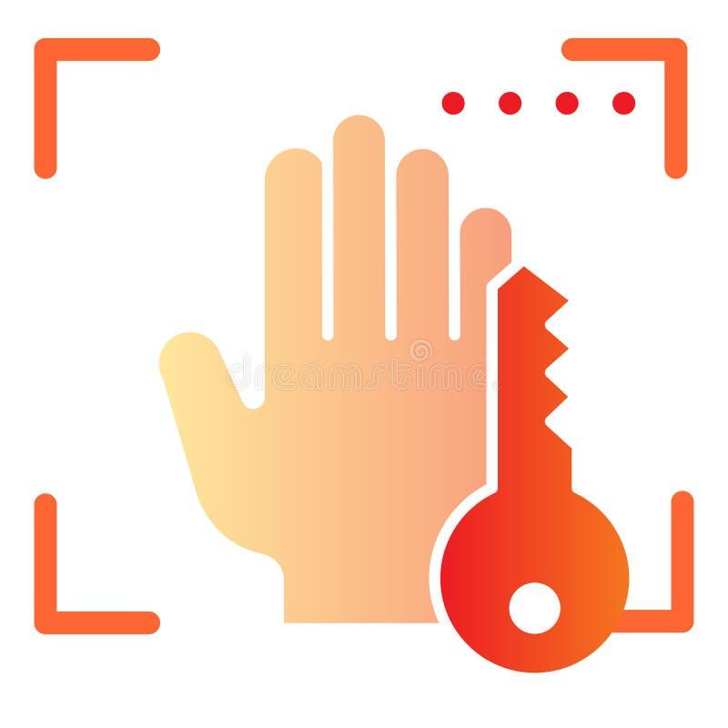 Biometrisches Handscannen und flache Schlüsselikone Handbiometrische Scan-Farbikonen in der modischen flachen Art Palmprint stock abbildung