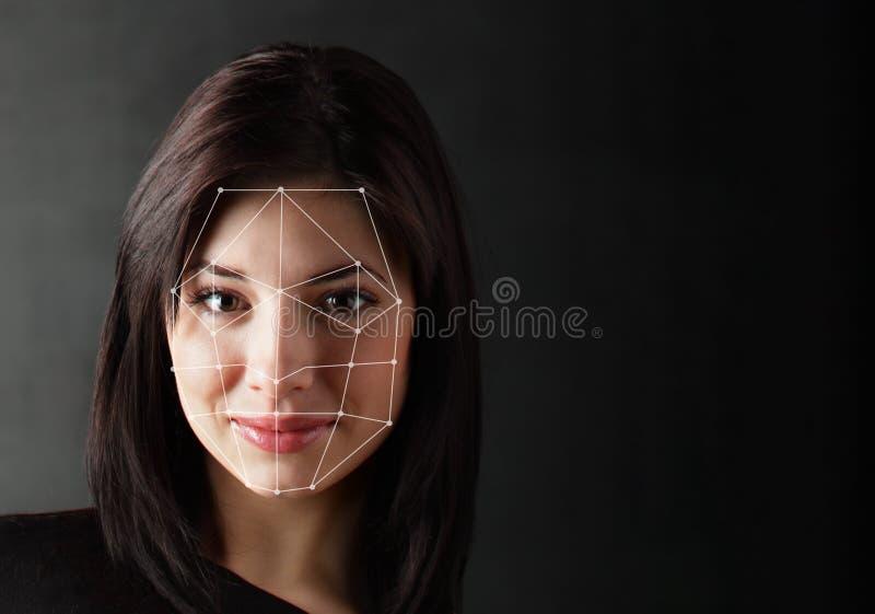 Biometryczna weryfikacja - kobiety twarzy wykrycie, zdjęcie stock