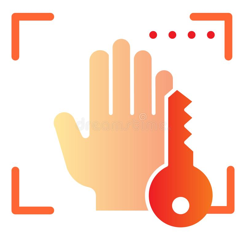 Biometryczny ręki skanerowanie i klucza mieszkania ikona Wręcza biometryczne obrazu cyfrowego koloru ikony w modnym mieszkanie st ilustracji
