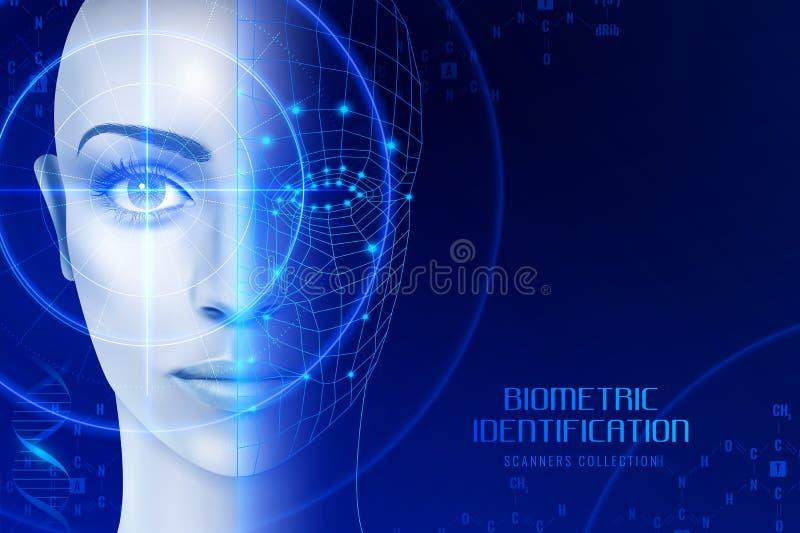 Biometryczny Tożsamościowy przeszukiwacza tło royalty ilustracja