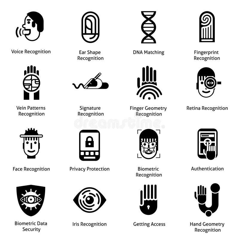 Biometryczny uwierzytelnienie ikon czerń royalty ilustracja