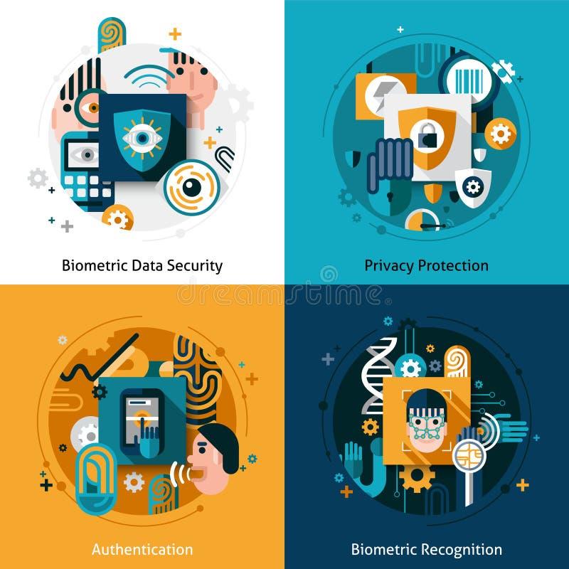 Biometryczny uwierzytelnienie set royalty ilustracja