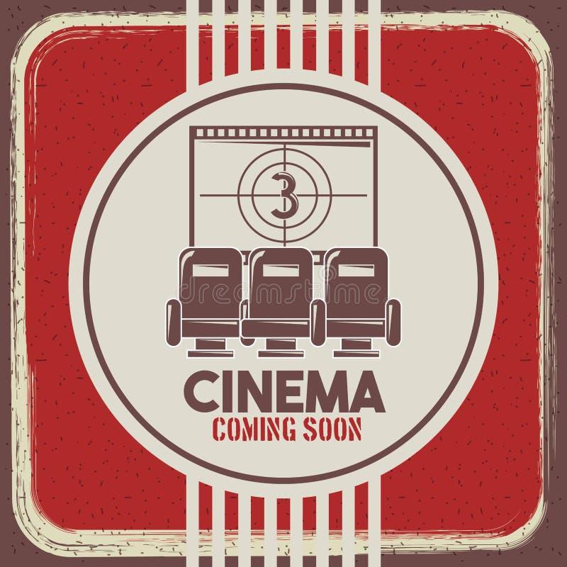 Bion som snart kommer den retro stilplatser och filmen för affisch, river av nedräkning stock illustrationer