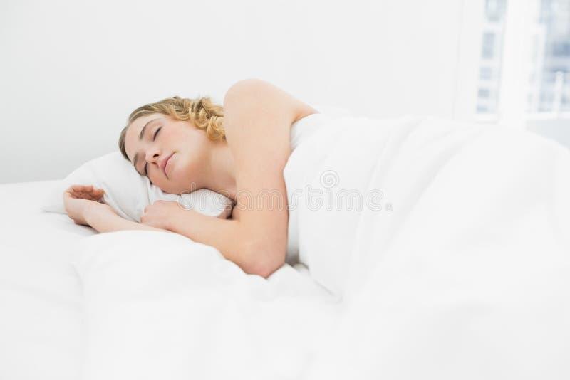 Bionda abbastanza calma che si trova a letto facendo un sonnellino fotografia stock libera da diritti