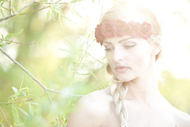 Bionda che indossa un fiore Cown fotografia stock libera da diritti