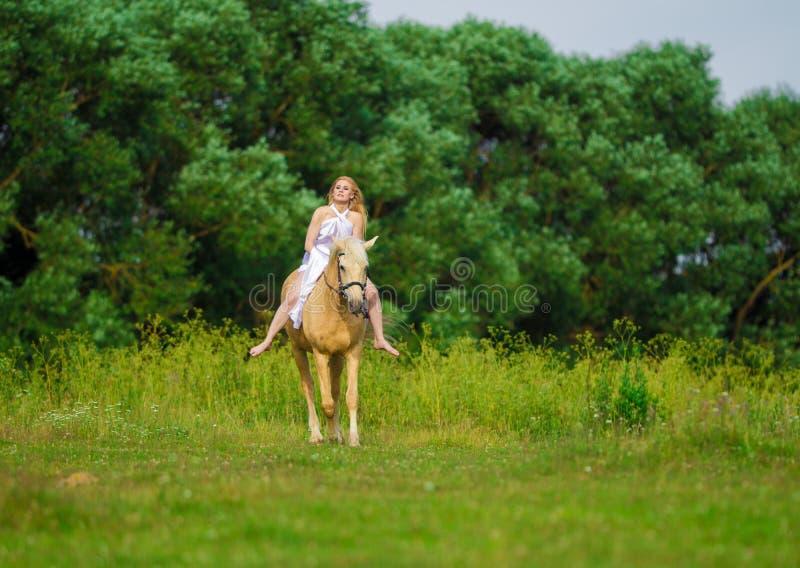 Bionda della donna dell'utente con capelli lunghi in un vestito bianco con un treno che posa su un cavallo di palamino immagini stock libere da diritti