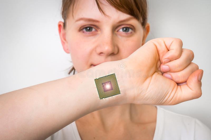 Bionic chip processor implant in female human body. Future technology and cybernetics concept stock image