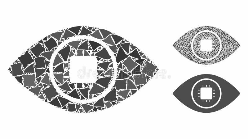 Bionic eye lens Mosaic Icon of Rough Elements royalty-vrije illustratie