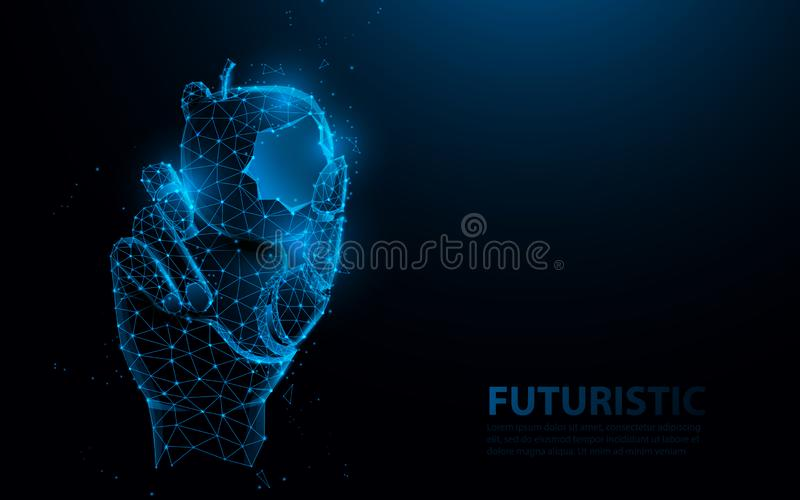 Bionic medical hand prosthesis, holding bite of apple. Metallic robot arm internal human. Future technology concept.  vector illustration