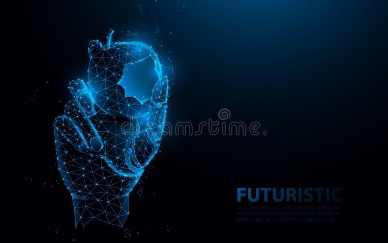 Bionic medical hand prosthesis, holding bite of apple. Metallic robot arm internal human. Future technology concept vector illustration
