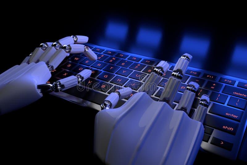 Bionic r?ki pisa? na maszynie na klawiaturze, klawiatura Mechaniczny r?ka cyborg u?ywa komputer ilustracja 3 d, Bioniki technolog ilustracji
