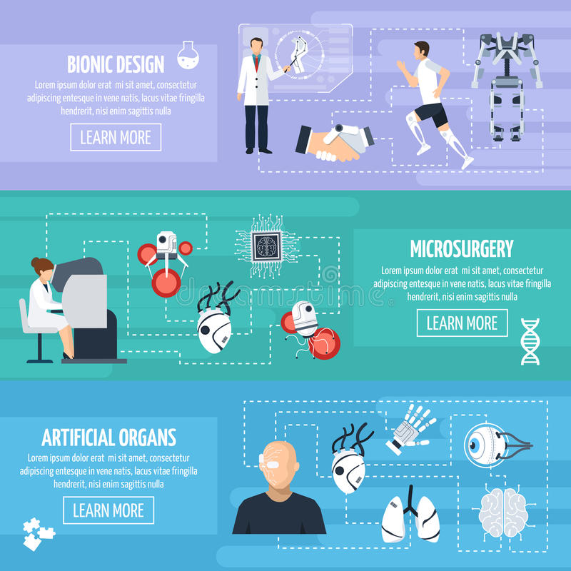 Bionic Technology Horizontal Banners royalty free illustration